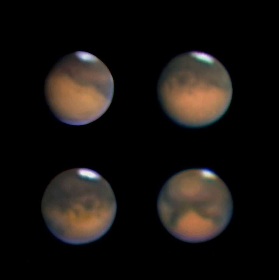 These images of Mars were taken using a webcam attached to a 180-cm Maksutov-Newtonian telescope. Photograph by Jamie Cooper. Photo: Jamie Cooper, SSPL Via Getty Images