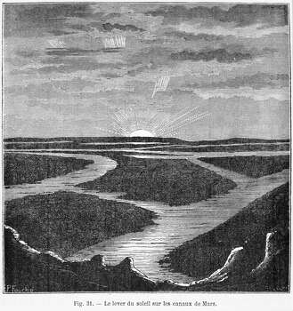 Plate from 'Les Terres du Ciel' (The Worlds of the Sky) written by the French astronomer Camille Flammarion (1842-1925). The plate is an artist's impression of how canals on Mars might have looked. The idea that there might be canals on Mars originated with the Italian astronomer Giovanni Schiaparelli, who claimed to have observed features he described as canali (channels) in 1877. Flammarion was not the only supporter of the idea; the respected American astronomer Percival Lowell (1855-1916) theorised that a civilization, faced with climate change, had built the canals to transport water from the planet?s ice caps to irrigate crops. In fact the canals did not exist; they are now thought to have been optical illusions possibly caused by dust storms. Photo: Science & Society Picture Librar, SSPL Via Getty Images