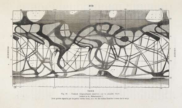 Diagram showing canals on the planet Mars as drawn by Italian astronomer Giovanni Schiaparelli, Author Camille Flammarion. Photo: British Library/Robana, British Library/Robana Via Getty