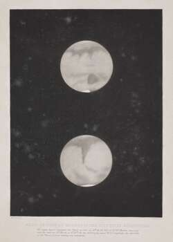 Aquatint print (monochrome) by W Forrest showing two views of the planet Mars from original drawings by Captain William Stephen Jacob (1813-1862). His sketches are base on his views of the planet seen on the 18 and 23 March 1854. For these observations Jacob used the 6 inch aperture telescope of the Madras Observatory made by Lerebours & Secretan of Paris. Jacob was director of the Indian Observatory from 1848-1862, a time during which he was re-equipped it extensively. Due to the southerly latitude of Madras, Mars was high in the sky and particularly well placed for detailed examination. By the end of the nineteenth century there was great speculation as to whether life existed on Mars. Photo: Science & Society Picture Librar, SSPL Via Getty Images