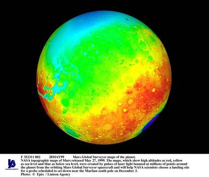 Mars Global Surveyor Maps Of The Planet. Nasa Topographic Maps Of Mars Released May 27, 1999. The Maps, Which Show High Altitudes As Red, Yellow As Sea Level And Blue As Below Sea Level, Were Created By Pulses Of Laser Light Beamed At Millions Of Points Around The Planet From The Orbiting Mars Global Surveyor Spacecraft And Will Help Nasa Scientists Choose A Landing Site For A Probe Scheduled To Set Down Near The Martian South Pole On December 3. Photo: Epix, Getty Images