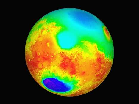 Nasa Topographic Maps Of Mars Released May 27, 1999. The Maps, Which Show High Altitudes As Red, Yellow As Sea Level And Blue As Below Sea Level, Were Created By Pulses Of Laser Light Beamed At Millions Of Points Around The Planet From The Orbiting Mars Global Surveyor Spacecraft And Will Help Nasa Scientists Choose A Landing Site For A Probe Scheduled To Set Down Near The Martian South Pole On December 3. Photo: NASA, Getty Images