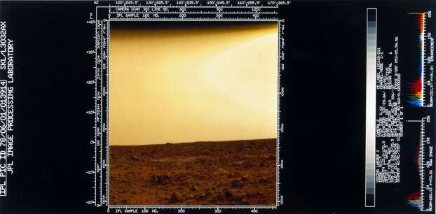 This shows a flat rock-strewn surface with a pink sky. Two Viking spacecraft were launched towards Mars in 1975, each carrying a lander spacecraft and an orbiter. Both successfully landed their probes on Mars to study the Martian environment, soil constituents and to search for simple life forms - none were found. Viking 1 was launched on 20th August 1975 and landed in the Chryse Planitia region of Mars on 20th July 1976. It continued to return data to Earth until November 1982. Photo: Science & Society Picture Librar, SSPL Via Getty Images