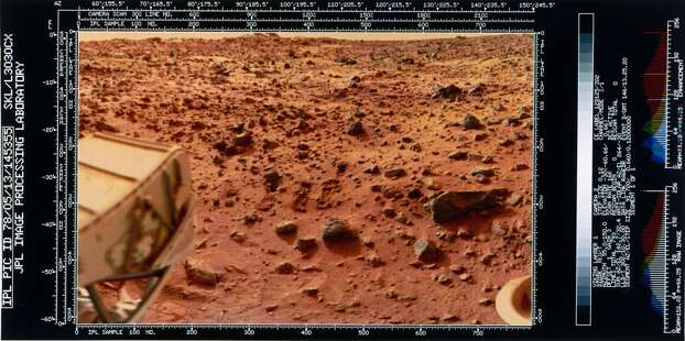 Part of the spacecraft can be seen in this picture. Two Viking spacecraft were launched towards Mars in 1975, each carrying a lander spacecraft and an orbiter. Both successfully landed their probes on Mars to study the Martian environment, soil constituents and to search for simple life forms - none were found. Viking 1 was launched on 20th August 1975 and landed in the Chryse Planitia region of Mars on 20th July 1976. It continued to return data to Earth until November 1982. Photo: Science & Society Picture Librar, SSPL Via Getty Images
