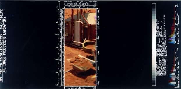This shows a sample of soil actually in the lander's soil retrieval scoop. Two Viking spacecraft were launched towards Mars in 1975, each carrying a lander spacecraft and an orbiter. Both successfully landed their probes on Mars to study the Martian environment, soil constituents and to search for simple life forms - none were found. Viking 1 was launched on 20th August 1975 and landed in the Chryse Planitia region of Mars on 20th July 1976. It continued to return data to Earth until November 1982. Photo: Science & Society Picture Librar, SSPL Via Getty Images