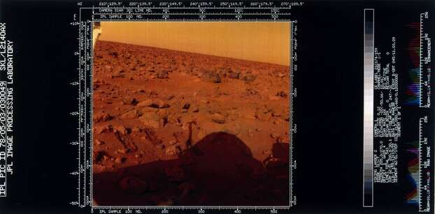 This shows the red rock strewn surface of Mars and the shadow of the lander itself. Two Viking spacecraft were launched towards Mars in 1975, each carrying a lander spacecraft and an orbiter. Both successfully landed their probes on Mars to study the Martian environment, soil constituents and to search for simple life forms - none were found. Viking 2 was launched on 9th September 1975 and landed in the Utopia Planitia region of Mars on 3rd September 1976. Photo: Science & Society Picture Librar, SSPL Via Getty Images