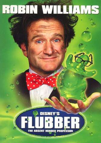 'Flubber' - On the verge of losing his girlfriend and his job, a scatterbrained college professor accidentally invents a bouncy material called Flubber. The substance stands to save the day -- if the professor can defeat the many rivals who try to sabotage him. Available Sept. 1 Photo: Movie Poster