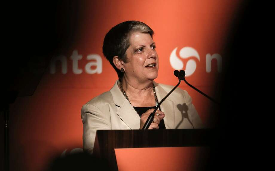 UC President Janet Napolitano speaks on the benefits of pure research at the Nexenta OpenSDx Summit in San Francisco. Photo: Michael Macor, The Chronicle