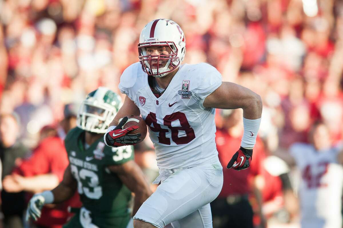 PASADENA, CA - The Stanford Cardinal competes against the Michigan State Spartans in the 100th Rose Bowl Game in Pasadena.