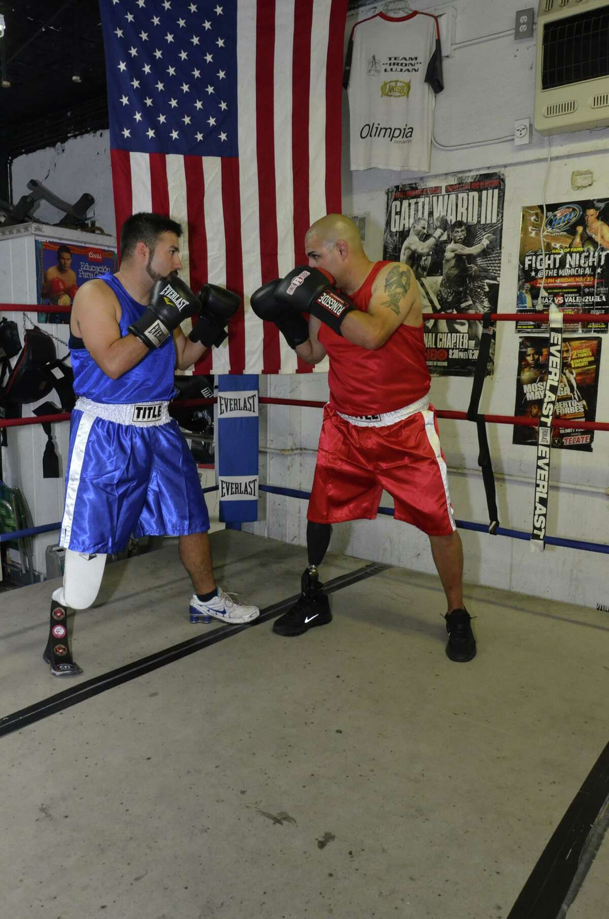 Lower-limb amputee fighters from the National Amputee Boxing Association in San Antonio square up in the ring. The group is the only sanctioned boxing association for amputees in the country.