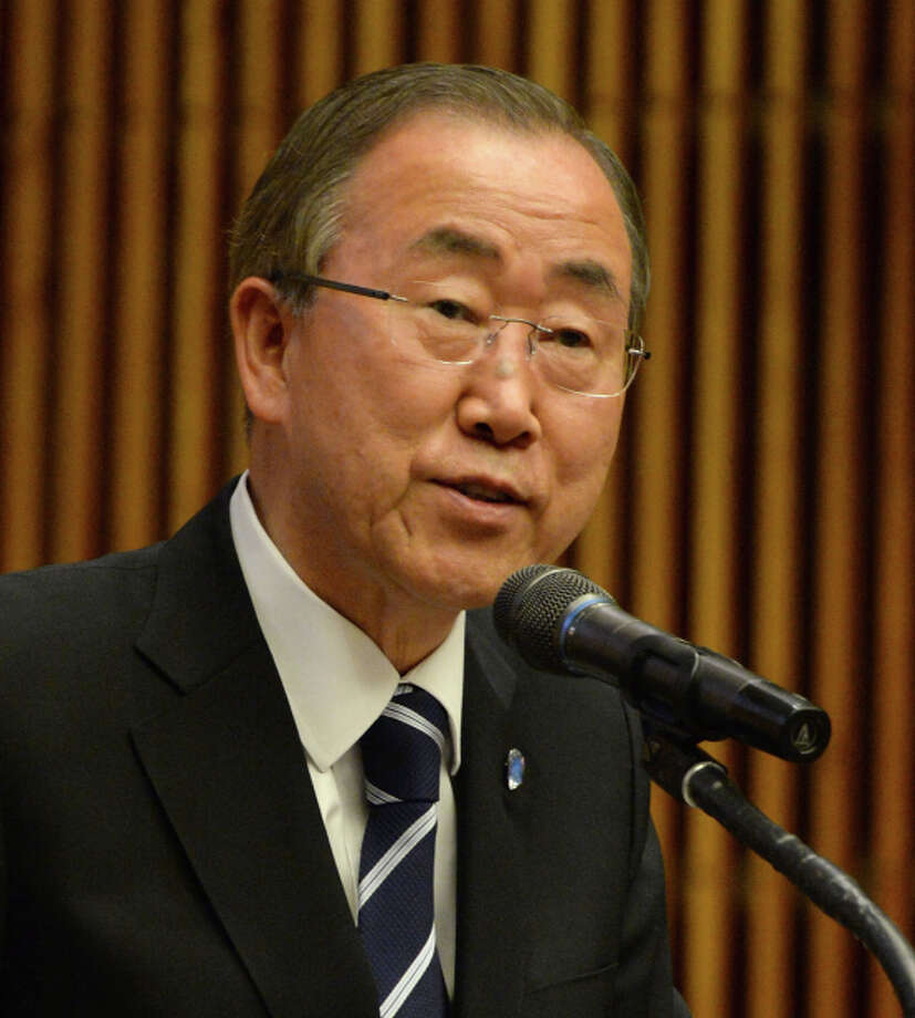 NEW YORK, NY - AUGUST 19:  Secretary General Ban Ki-Moon speaks at the UN Celebrates World Humanitarian Day at United Nations on August 19, 2014 in New York City.  (Photo by Ben Gabbe/Getty Images for United Nations) Photo: Ben Gabbe / Getty Images For United Nations / 2014 Getty Images