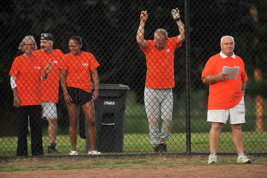 Ernie Orgera, right, manager of the Mayor's Team looks on during the 31st annual Mayor's Team versus Board of Reps' Team softball game at Boccuzzi Park in Stamford, Conn., on Thursday, Aug. 28, 2014. Photo: Jason Rearick / Stamford Advocate