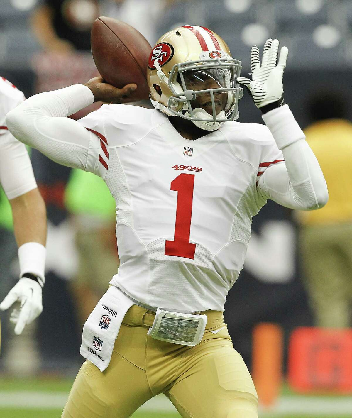 HOUSTON, TX - AUGUST 28: Josh Johnson #1 of the San Francisco 49ers throws a pass during warm ups before playing the Houston Texans at Reliant Stadium on August 28, 2014 in Houston, Texas.