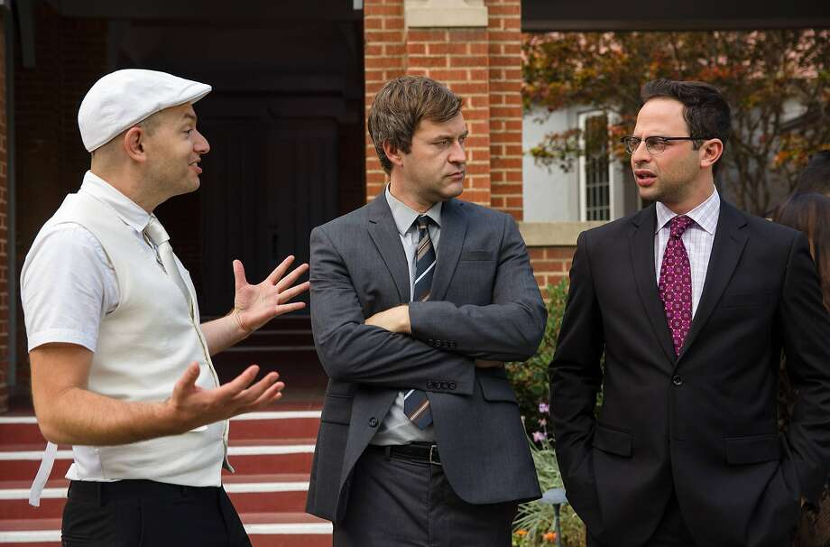 "Andre (Paul Scheer), Pete (Mark Duplass) and Ruxin  (Nick Kroll) converse in the chaotic comedy ""The League."""