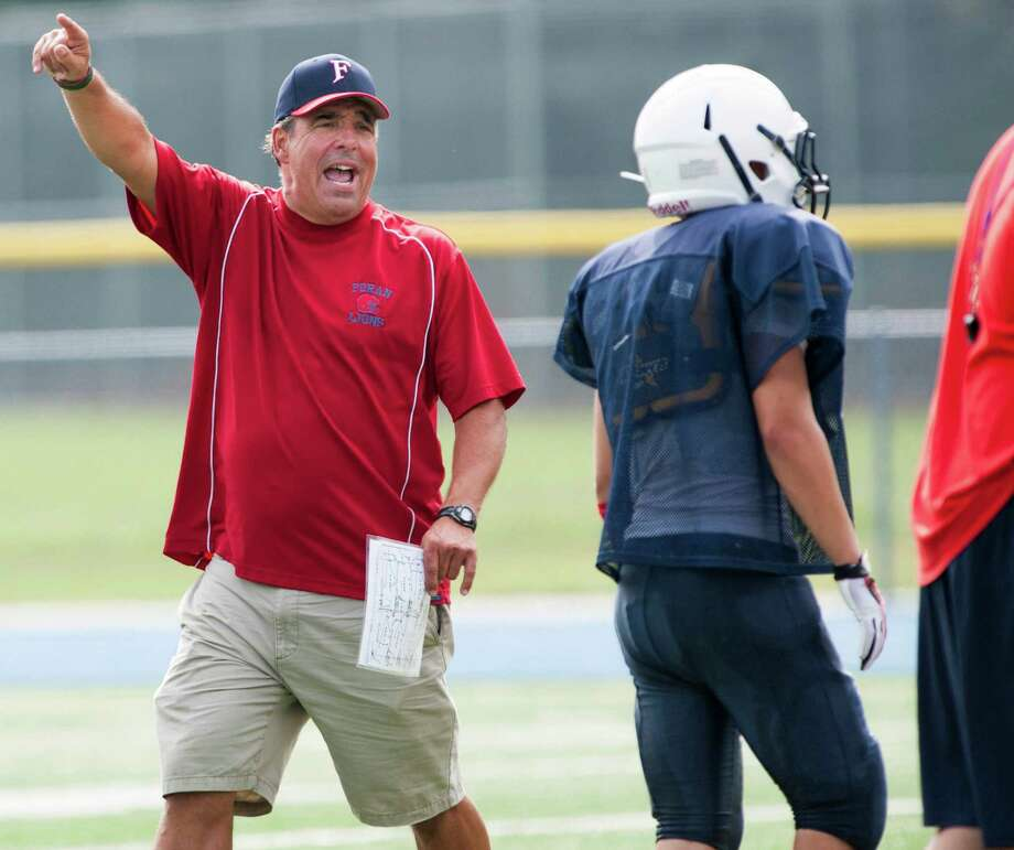 Foran high school head football coach Jeff Bevino during a scrimmage with Bunnell high school, and Trumbull high school at Bunnell high school, Stratford, CT on Saturday August 31st, 2013. Photo: Mark Conrad / Connecticut Post Freelance