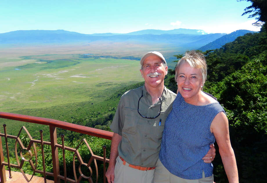 Richard and Holly Pierce at the rim of the Ngorogoro crater, Tanzania. Photo: Courtesy Holly Pierce / ONLINE_YES