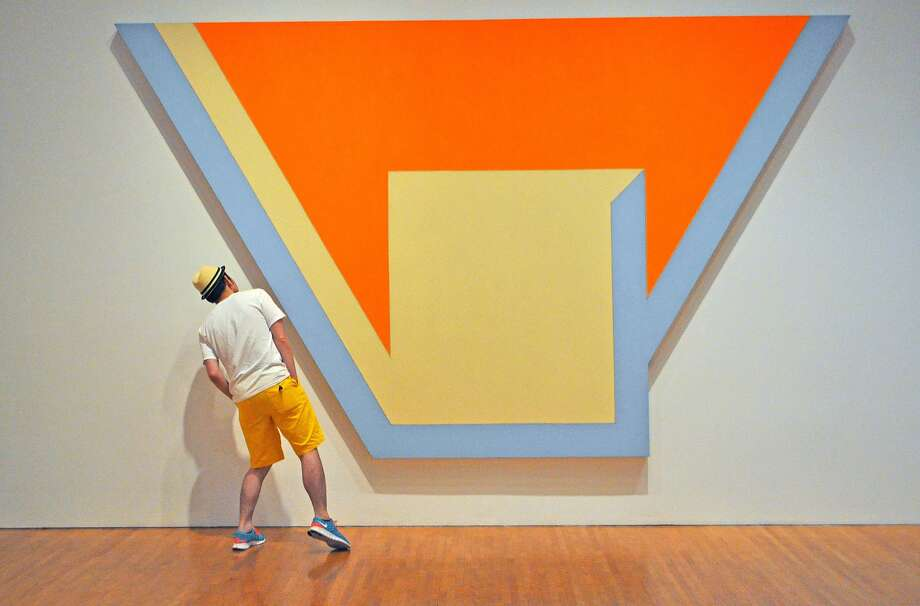 "Richard Nagler's image reveals the viewer's relationship to the viewed: ""Union III"" from Frank Stella's ""Irregular Polygon"" series."