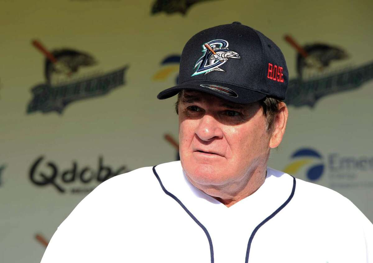 BRIDGEPORT, CT - JUNE 16: Former Major League Baseball player Pete Rose speaks at a press conference prior to managing the game for the Bridgeport Bluefish against the Lancaster Barnstormers at The Ballpark at Harbor Yard on June 16, 2014 in Bridgeport, Connecticut.