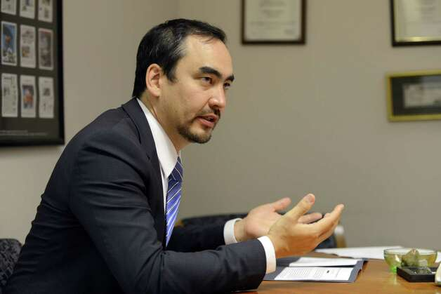 Tim Wu, candidate for the Democratic nomination for Lieutenant Governor, speaks during an interview Thursday, Aug. 28, 2014, at the Times Union in Colonie, N.Y. (Will Waldron/Times Union) Photo: WW