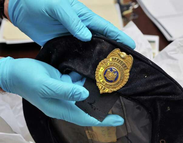 A corrections officer's hat, part of a new trove of archival items from the controversial Attica prison uprising 40 years ago, now at the NYS Museum in Albany Wednesday Sept. 21, 2011.   (John Carl D'Annibale / Times Union) Photo: John Carl D'Annibale / 00014710A