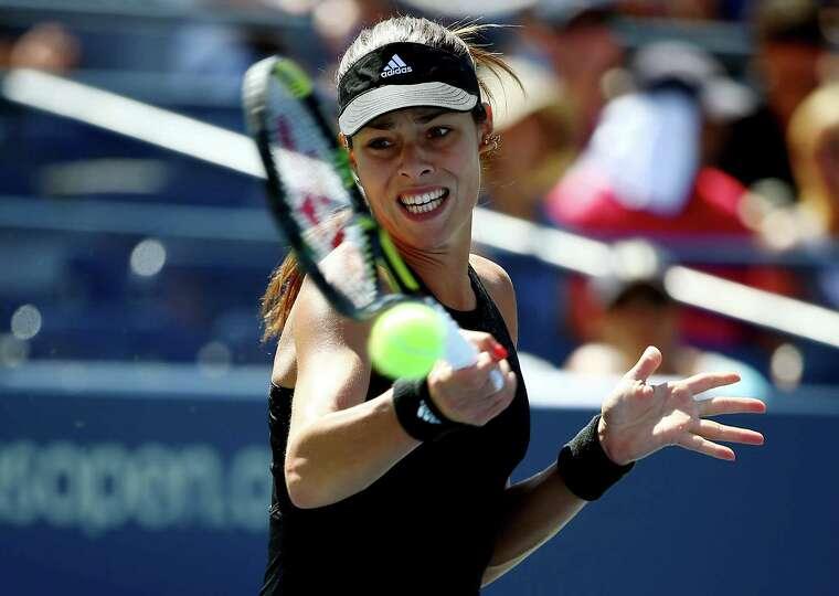 NEW YORK, NY - AUGUST 28:  Ana Ivanovic of Serbia returns a shot to Karolina Pliskova of the Czech R