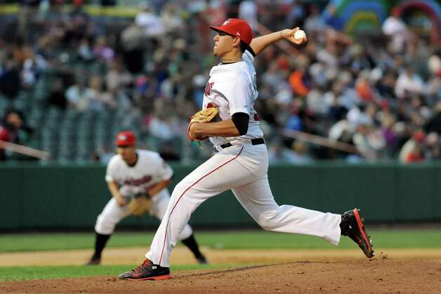 ValleyCats' Joe Musgrove winds up the pitch during their baseball game against the Brooklyn Cyclones on Thursday, Aug. 28, 2014, at Bruno Stadium in Troy, N.Y. (Cindy Schultz / Times Union) Photo: Cindy Schultz / 00028316A