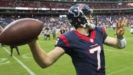 Texans quarterback Case Keenum warms up before a preseason football game against the San Francisco 49ers.
