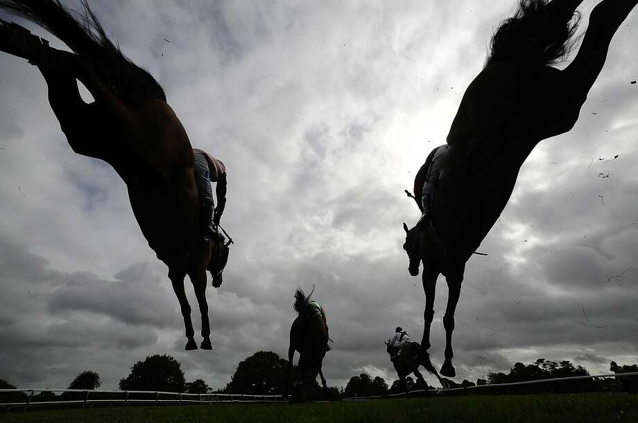FONTWELL, ENGLAND - AUGUST 28:  Runners clear a fence in The £500 Permanent Money Backs Handicap Steeple Chase at Fontwell racecourse on August 28, 2014 in Fontwell, England. (Photo by Alan Crowhurst/Getty Images) *** BESTPIX *** Photo: Alan Crowhurst, Getty Images