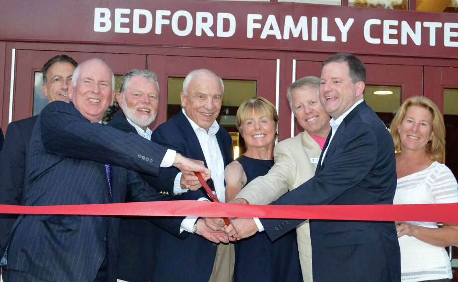 Among those on hand to cut the ribbon of the new Bedford Family Center of the Westport Weston Family Y were First Selectman Jim Marpe; Pete Wolgast, chairman of the Y board of trustees; Bonnie Strittmatter, president of the board of directors, Y CEO Rob Reeves, and state Sen. John McKinney. Photo: Jarret Liotta / Westport News