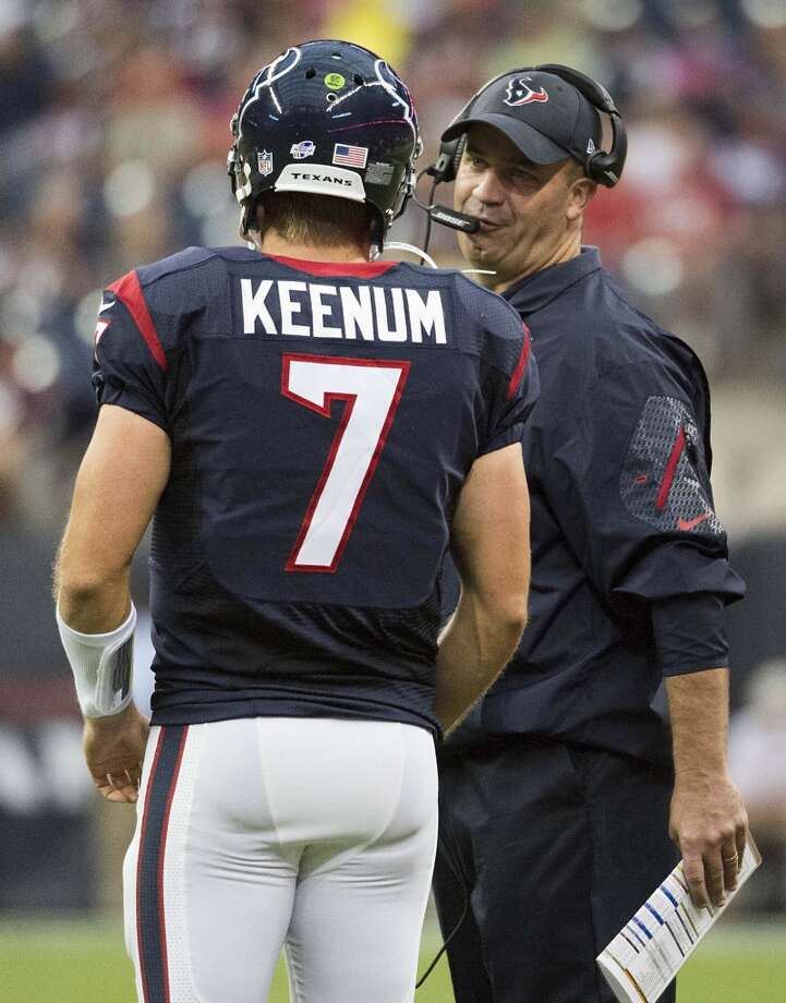 2. After his performance in the 40-13 loss to San Francisco on Thursday, there's no guarantee quarterback Case Keenum will be on the roster next week. He started and was 8-of-17 for 70 yards with one interception and a 33.9 rating. In preseason, he was 28-of-52 (53.8 percent) for 254 yards, no touchdowns, two interceptions and a 51.3 rating. If coach Bill O'Brien thinks he can locate a better backup quarterback he'll get one. Photo: Smiley N. Pool, Houston Chronicle