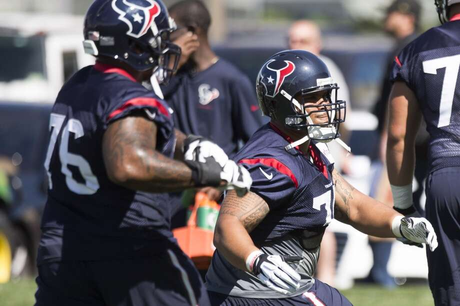 5. The offensive line enters the Washington game healthy. Right guard Brandon Brooks rebounded from a back injury that limited him through half of camp and preseason to start and play extensively in the last two games. He played well as a first-time starter last season. Left guard Ben Jones, who's also the backup center and has started at right guard, has impressed the coaches so much second-round pick Xavier Su'a-Filo is expected to begin the season as a backup. Su'a-Filo missed the OTAs because UCLA was on the quarter system. Then the coaches had him playing tackle as well as guard. Left tackle Duane Brown and center Chris Myers are Pro Bowl-caliber players who are still the anchors. As a first-time starter in 2012, right tackle Derek Newton played on a 12-4 division winner. He played hurt last season and was mediocre. Now he's healthy and planning to have his best season. Photo: Brett Coomer, Houston Chronicle