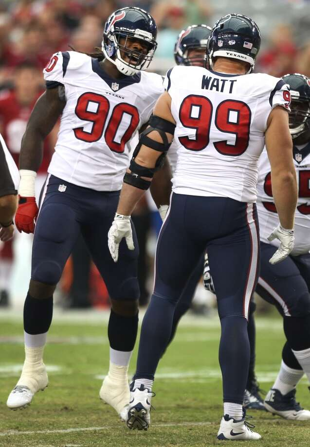 6. Opponents marvel at what the Texans are capable of doing with their pass rushers, especially end J.J. Watt and outside linebacker Jadeveon Clowney, neither of whom played much in preseason. The thought of Watt and Clowney lining up on opposite sides or next to each other and getting after the quarterback is frightening for opponents devising game plans. With inside linebacker Brian Cushing returning and outside linebacker Whitney Mercilus re-emerging over the last two games opposite Brooks Reed, the front seven could be exceptional if everyone stays healthy and continues to progress under new coaches. Clowney showed his incredible explosiveness and his amazing closing burst in two brief appearances. If Reed and Mercilus take to the coaching of Mike Vrabel and the calls of Romeo Crennel, the front seven will affect the outcome of games. Photo: Brett Coomer, Houston Chronicle