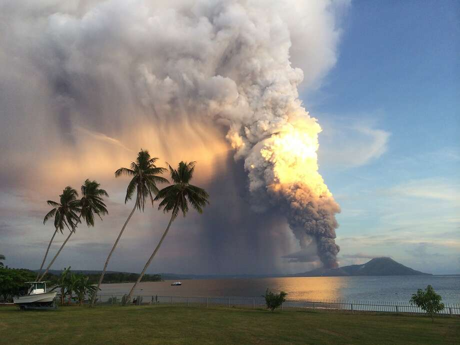 Look who's back, angry as ever:Mount Tavurvur in eastern Papua New Guinea blows its stack, spewing rocks and 