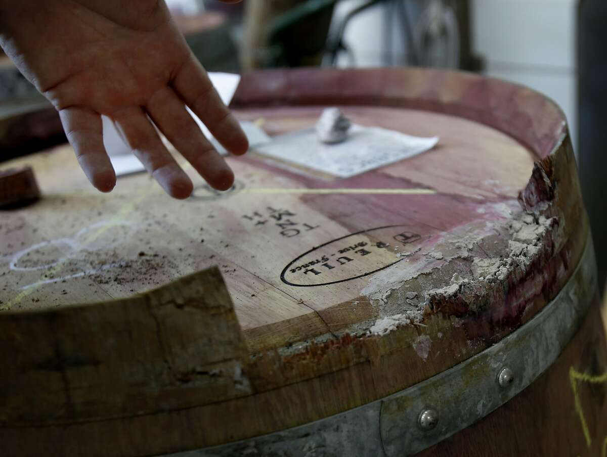 Broken French oak wine barrels have to be repaired or replaced at Page Wine Cellars but the small popular winery is back in business Thursday August 28, 2014. Some southern Napa Valley wine makers were hit hard by the recent earthquake, but cleanup has been steady and 95 percent are now back in business.