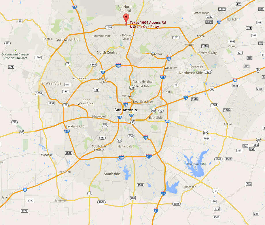 Location of a major crash at Loop 1604 and Stone Oak Parkway on Friday, Aug. 29, 2014. Photo: Google Maps