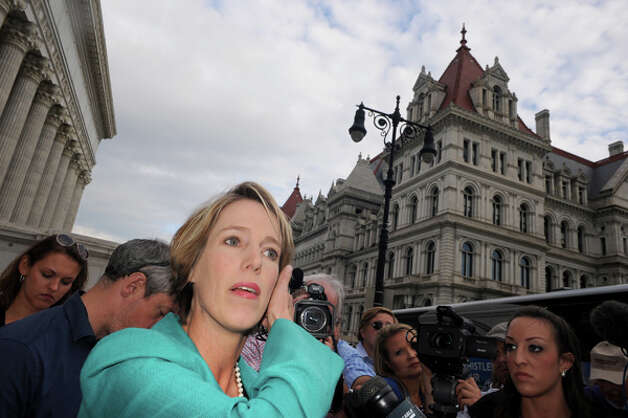 Democratic candidate for New York Governor Zephyr Teachout, left, makes a campaign stop at the State Education Building on Thursday Aug. 28, 2014 in Albany, N.Y.  (Michael P. Farrell/Times Union) Photo: Michael P. Farrell, Albany Times Union / 00028380A
