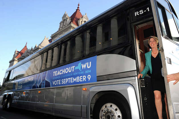 Democratic candidate for New York Governor Zephyr Teachout, right, makes a campaign stop at the State Education Building on Thursday Aug. 28, 2014 in Albany, N.Y.  (Michael P. Farrell/Times Union) Photo: Michael P. Farrell, Albany Times Union / 00028380A