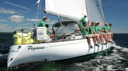 The Pegasus, sailed and owned by Austin Royle of Wilton competes in the Labor Day weekend's Vineyard Race, a 238-mile course got underway in Stamford Harbor in Stamford, Conn. on Friday, Aug. 29, 2014.