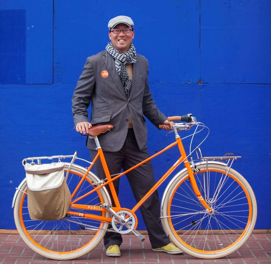 Dan Nguyen-Tan of Public Bikes has tricked out his ride with a rear pannier. Photo: Myleen Hollero / SF Bicycle Coalition / ONLINE_YES