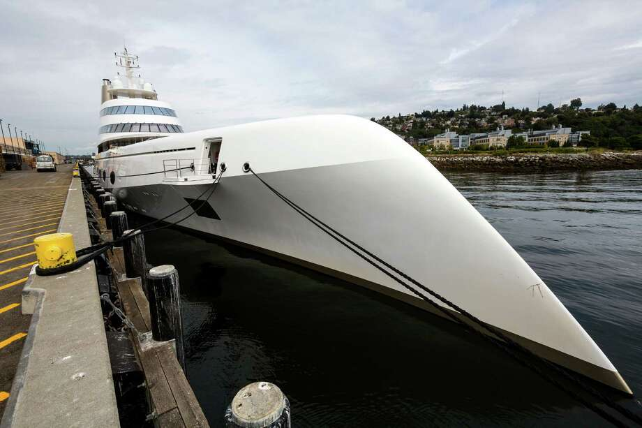 "One of the world's largest private yachts, simply named ""A,"" appears after a $500,000 fuel-up Friday, Aug. 29, 2014, at Pier 90 in Seattle. The German-made, 394-foot mega yacht -- owned by 42-year old Russian billionaire banker Andrey Melnichenko and his wife -- stopped in Seattle after leaving Ketchikan, Alaska, last week. Photo: JORDAN STEAD, SEATTLEPI.COM / SEATTLEPI.COM"