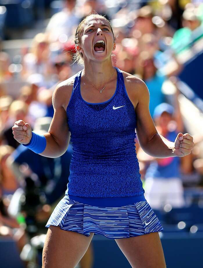 Sara Errani celebrates after defeating Venus Williams in a third-round match at the U.S. Open. Photo: Al Bello, Getty Images