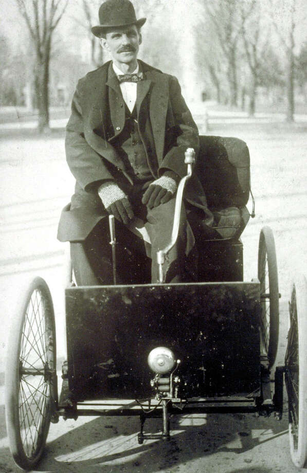 ** ADVANCE FOR WEEKEND JUNE 7-8- FILE ** Henry Ford with his first car, the 1896 Quadricycle are shown in this file photo from The collections of Henry Ford Museum and The Henry Ford. (AP Photo) Photo: HO / FORD MOTOR CO