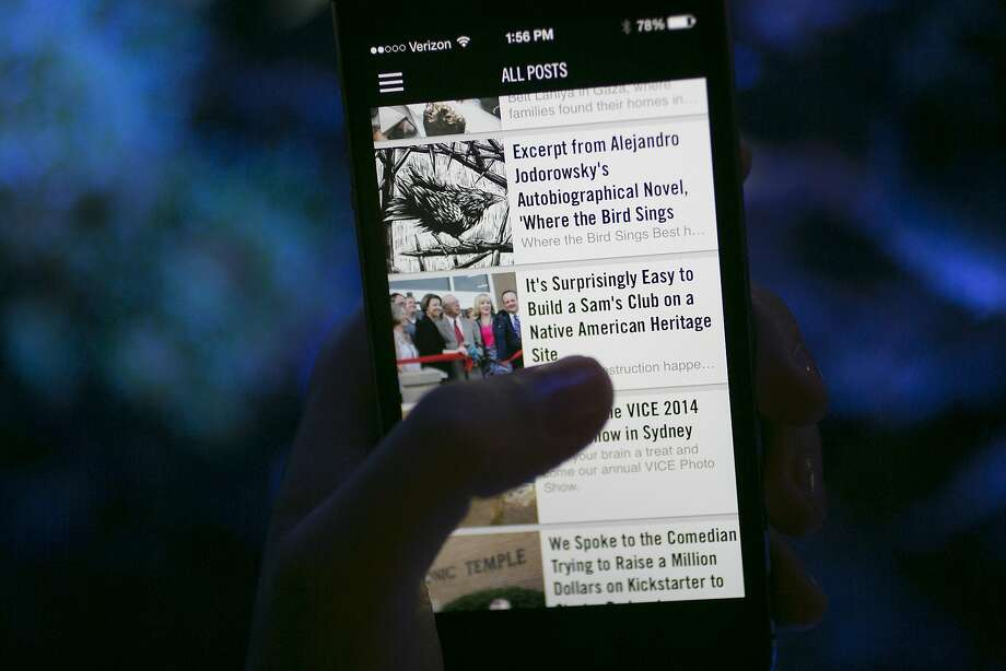 Vice has a strong digital presence, including a smartphone app the displays its content. Photo: Andrew Harrer, Bloomberg