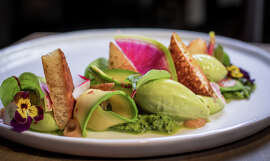 Aveline's avocado salad is well executed, featuring avocados that are chunked, sliced, curled, made into a sauce and frozen into ice cream.