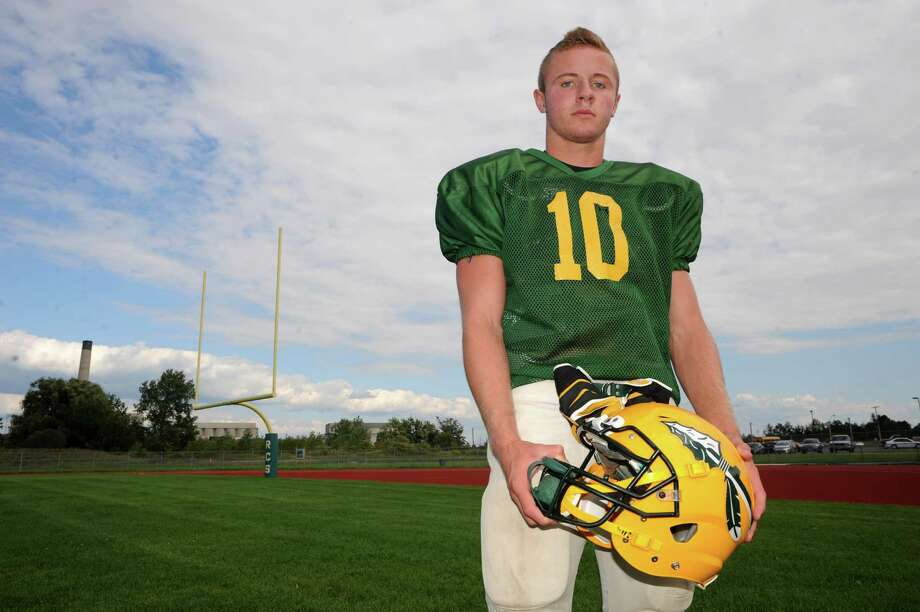 Ravena High School quarterback David Warnken during practice on Thursday Aug. 28, 2014 in Ravena, N.Y.  (Michael P. Farrell/Times Union) Photo: Michael P. Farrell / 00028369A