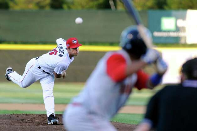 ValleyCats' Daniel Mengden, left, unleashes a pitch during their baseball game against the Brooklyn Cyclones on Friday, Aug. 29, 2014, at Bruno Stadium in Troy, N.Y. (Cindy Schultz / Times Union) Photo: Cindy Schultz / 00028317A