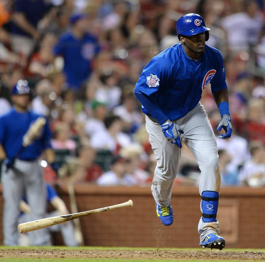 Cubs rookie Jorge Soler heads to first base after hitting the first of his two home runs against St. Louis. Photo: Bill Boyce, Associated Press