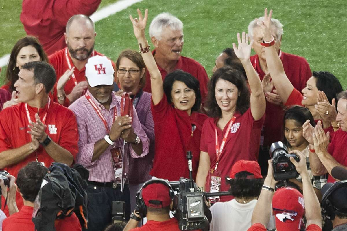 University of Houston president Dr. Renu Khator cheered after cutting the ribbon to officially open the TDECU Stadium before the Cougars' football game against Texas-San Antonio on Friday, Aug. 29, 2014.