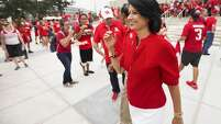 The University of Houston president Dr. Renu Khator walks outside the new TDECU Stadium before the season opener between Houston and UTSA on Friday, Aug. 29, 2014, in Houston. ( Brett Coomer / Houston Chronicle )