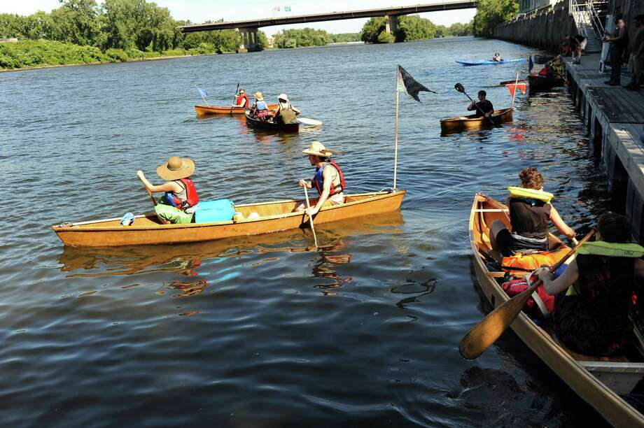 The SeaChange 2014 paper boat flotilla launches on Saturday, Aug. 30, 2014, at the Troy Town Dock and Marina in Troy, N.Y. The flotilla will go down the Hudson River from Troy to New York City. (Cindy Schultz / Times Union) Photo: Cindy Schultz / 00028395A